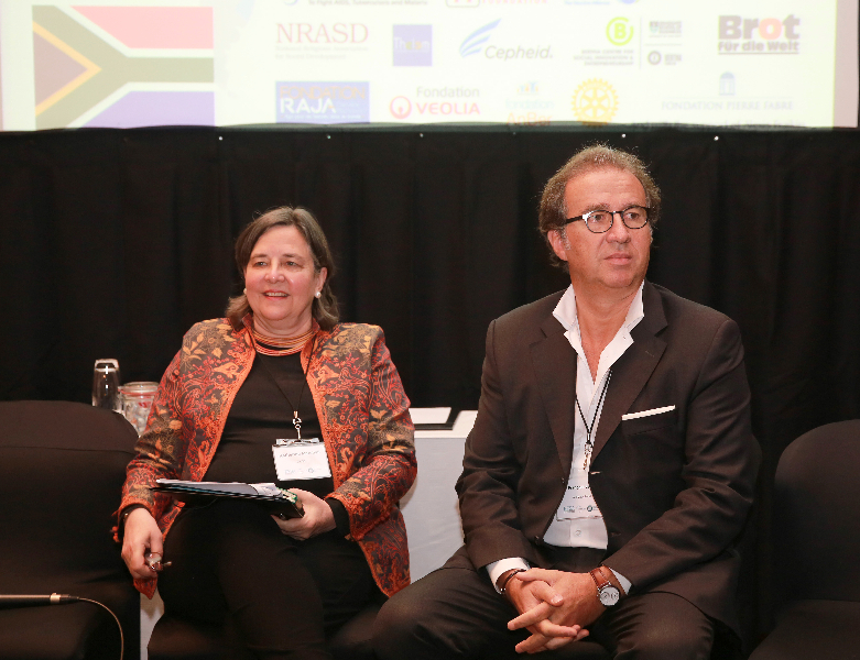 KLEINMOND, SOUTH AFRICA - JUNE 22: Jean-François de Lavison, President and Founder of AHIMSA and Katherine Marshall a Senior Fellow at the Berkley Center for Religion, at the Conference on Global Health and Faith Based Communities on June 22, 2015 in Kleinmond, South Africa. The Conference on Global Health and Faith Based Communities is hosted by the Ecumenical Foundation of Southern Africa (EFSA) in partnership with the Ahimsa Roundtable (France) and World Faiths Development Dialogue (Washington-DC). [Other sponsors include The Global Fund, World Vision, UnitAid, Gavi, Brot für die Welt, Sanofi Pasteur, The Handa Foundation, Fondation Raja, Ahimsa Partners and Thelem.] The Conference, with more than 100 delegates from approximately 30 countries, runs from 21-24 June 2015 at the Arabella Hotel & Spa, Kleinmond, Western-Cape, South Africa. (Photo by Gallo Images / Nardus Engelbrecht)