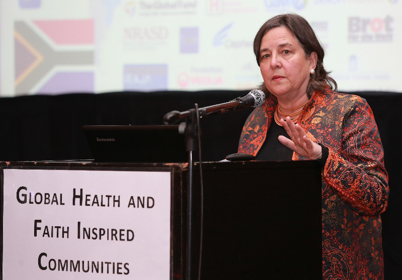 KLEINMOND, SOUTH AFRICA - JUNE 22: Katherine Marshall a Senior Fellow at the Berkley Center for Religion, at the Conference on Global Health and Faith Based Communities on June 22, 2015 in Kleinmond, South Africa. The Conference on Global Health and Faith Based Communities is hosted by the Ecumenical Foundation of Southern Africa (EFSA) in partnership with the Ahimsa Roundtable (France) and World Faiths Development Dialogue (Washington-DC). [Other sponsors include The Global Fund, World Vision, UnitAid, Gavi, Brot für die Welt, Sanofi Pasteur, The Handa Foundation, Fondation Raja, Ahimsa Partners and Thelem.] The Conference, with more than 100 delegates from approximately 30 countries, runs from 21-24 June 2015 at the Arabella Hotel & Spa, Kleinmond, Western-Cape, South Africa. (Photo by Gallo Images / Nardus Engelbrecht)