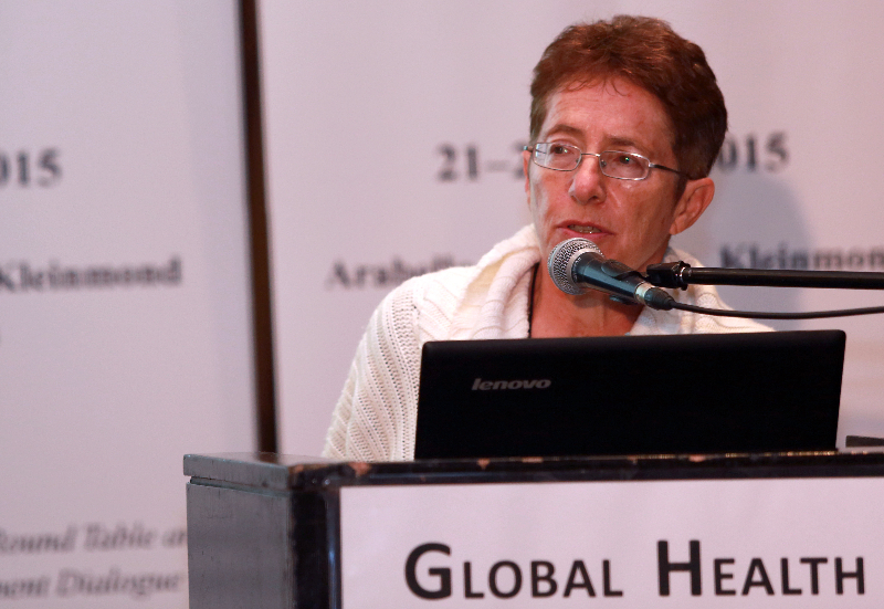 KLEINMOND, SOUTH AFRICA - JUNE 22: Professor Tessa Marcus of the Medical School at University of Pretoria, at the Conference on Global Health and Faith Based Communities on June 22, 2015 in Kleinmond, South Africa. The Conference on Global Health and Faith Based Communities is hosted by the Ecumenical Foundation of Southern Africa (EFSA) in partnership with the Ahimsa Roundtable (France) and World Faiths Development Dialogue (Washington-DC). [Other sponsors include The Global Fund, World Vision, UnitAid, Gavi, Brot für die Welt, Sanofi Pasteur, The Handa Foundation, Fondation Raja, Ahimsa Partners and Thelem.] The Conference, with more than 100 delegates from approximately 30 countries, runs from 21-24 June 2015 at the Arabella Hotel & Spa, Kleinmond, Western-Cape, South Africa. (Photo by Gallo Images / Nardus Engelbrecht)