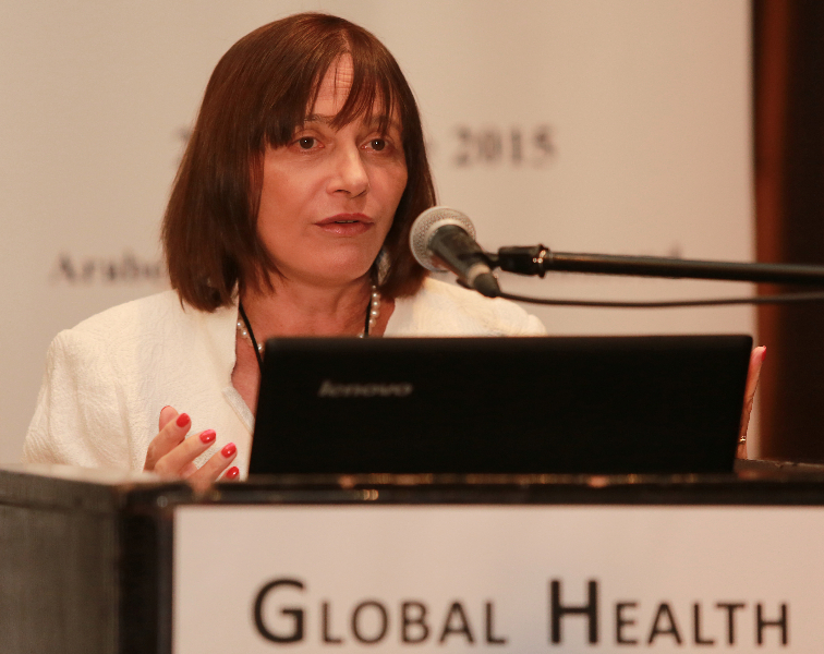 KLEINMOND, SOUTH AFRICA - JUNE 22: Dr Marie-Paule Kieny, World Health Organisation (WHO) Assistant Director-General for Health Systems and Innovation, at the Conference on Global Health and Faith Based Communities on June 22, 2015 in Kleinmond, South Africa. The Conference on Global Health and Faith Based Communities is hosted by the Ecumenical Foundation of Southern Africa (EFSA) in partnership with the Ahimsa Roundtable (France) and World Faiths Development Dialogue (Washington-DC). [Other sponsors include The Global Fund, World Vision, UnitAid, Gavi, Brot für die Welt, Sanofi Pasteur, The Handa Foundation, Fondation Raja, Ahimsa Partners and Thelem.] The Conference, with more than 100 delegates from approximately 30 countries, runs from 21-24 June 2015 at the Arabella Hotel & Spa, Kleinmond, Western-Cape, South Africa. (Photo by Gallo Images / Nardus Engelbrecht)