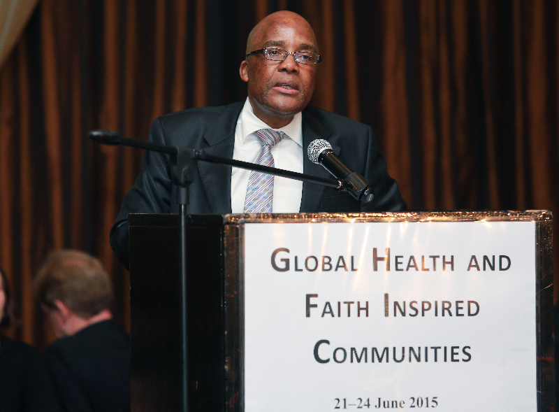 KLEINMOND, SOUTH AFRICA - JUNE 21: Minister of Health, Aaron Motsoaledi at the Conference on Global Health and Faith Based Communities on June 21, 2015 in Kleinmond, South Africa. The Conference on Global Health and Faith Based Communities is hosted by the Ecumenical Foundation of Southern Africa (EFSA) in partnership with the Ahimsa Roundtable (France) and World Faiths Development Dialogue (Washington-DC). [Other sponsors include The Global Fund, World Vision, UnitAid, Gavi, Brot für die Welt, Sanofi Pasteur, The Handa Foundation, Fondation Raja, Ahimsa Partners and Thelem.] The Conference, with more than 100 delegates from approximately 30 countries, runs from 21-24 June 2015 at the Arabella Hotel & Spa, Kleinmond, Western-Cape, South Africa. (Photo Nardus Engelbrecht)