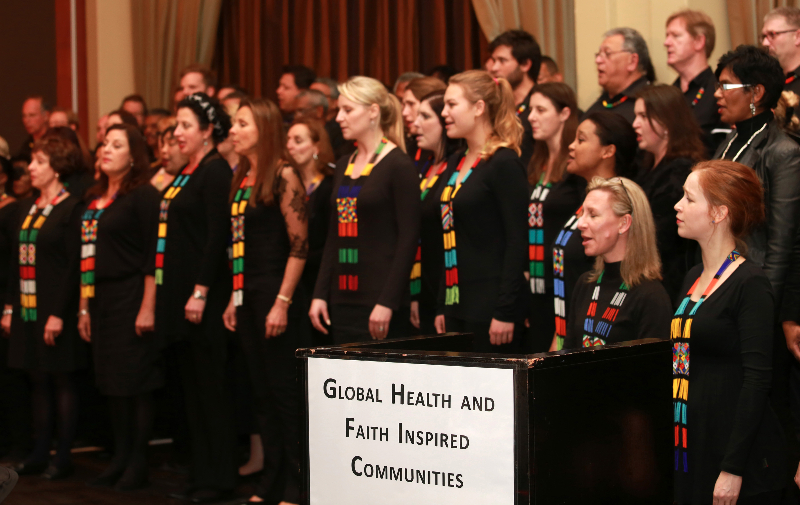 KLEINMOND, SOUTH AFRICA - JUNE 21: The Libertas Choir at the Conference on Global Health and Faith Based Communities on June 21, 2015 in Kleinmond, South Africa. The Conference on Global Health and Faith Based Communities is hosted by the Ecumenical Foundation of Southern Africa (EFSA) in partnership with the Ahimsa Roundtable (France) and World Faiths Development Dialogue (Washington-DC). [Other sponsors include The Global Fund, World Vision, UnitAid, Gavi, Brot für die Welt, Sanofi Pasteur, The Handa Foundation, Fondation Raja, Ahimsa Partners and Thelem.] The Conference, with more than 100 delegates from approximately 30 countries, runs from 21-24 June 2015 at the Arabella Hotel & Spa, Kleinmond, Western-Cape, South Africa. (Photo Nardus Engelbrecht)