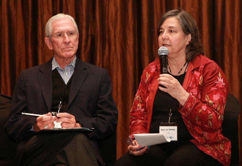 KLEINMOND, SOUTH AFRICA - JUNE 23: Bishop Kevin Dowling and Katherine Marshall a Senior Fellow at the Berkley Center for Religion, at the Conference on Global Health and Faith Based Communities on June 22, 2015 in Kleinmond, South Africa. The Conference on Global Health and Faith Based Communities is hosted by the Ecumenical Foundation of Southern Africa (EFSA) in partnership with the Ahimsa Roundtable (France) and World Faiths Development Dialogue (Washington-DC). [Other sponsors include The Global Fund, World Vision, UnitAid, Gavi, Brot für die Welt, Sanofi Pasteur, The Handa Foundation, Fondation Raja, Ahimsa Partners and Thelem.] The Conference, with more than 100 delegates from approximately 30 countries, runs from 21-24 June 2015 at the Arabella Hotel & Spa, Kleinmond, Western-Cape, South Africa. (Photo by Gallo Images / Nardus Engelbrecht)