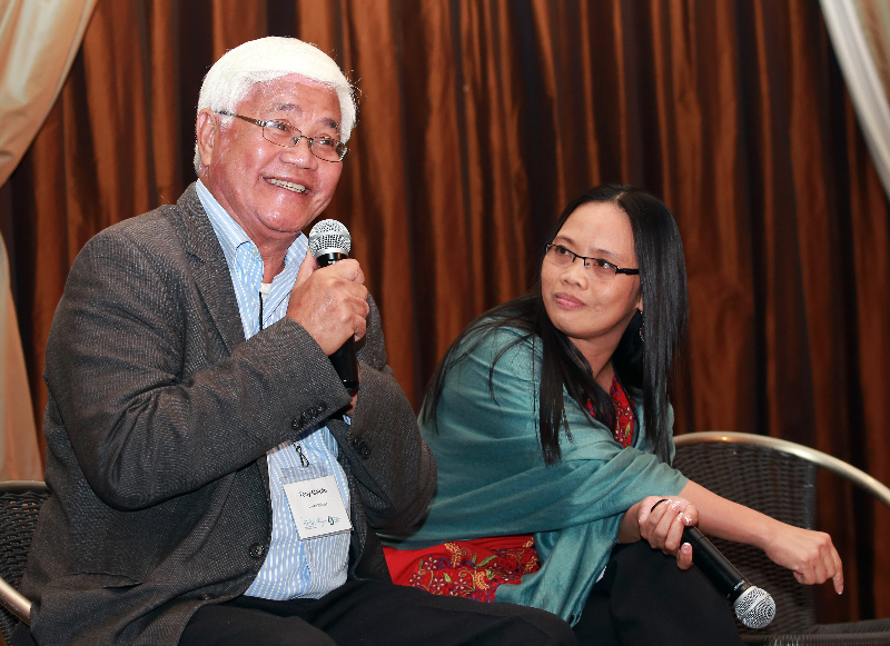KLEINMOND, SOUTH AFRICA - JUNE 23: Antonio Meloto, founding president of the NGO Gawad Kalinga with Dr. Gerlinda Lucas, at the Conference on Global Health and Faith Based Communities on June 22, 2015 in Kleinmond, South Africa. The Conference on Global Health and Faith Based Communities is hosted by the Ecumenical Foundation of Southern Africa (EFSA) in partnership with the Ahimsa Roundtable (France) and World Faiths Development Dialogue (Washington-DC). [Other sponsors include The Global Fund, World Vision, UnitAid, Gavi, Brot für die Welt, Sanofi Pasteur, The Handa Foundation, Fondation Raja, Ahimsa Partners and Thelem.] The Conference, with more than 100 delegates from approximately 30 countries, runs from 21-24 June 2015 at the Arabella Hotel & Spa, Kleinmond, Western-Cape, South Africa. (Photo by Gallo Images / Nardus Engelbrecht)